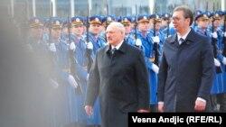 Doček Aleksandra Lukašenka ispred Palate Srbija u Beogradu tokom njegove posete 3. decembra 2019. godine. (na fotografiji sa predsednikom Srbije Aleksandrom Vučićem)