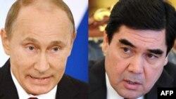Orsýetiň prezidenti Wladimir Putin (çepde) we onuň türkmenistanly kärdeşi Gurbanguly Berdimuhamedow.