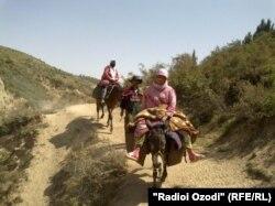 Таджикская семья перебирается из одного селения в другое. 5 августа 2011 года.