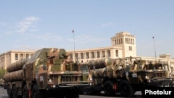 Armenia - Russian-made S-300 air-defense systems are driven through Yerevan's Republic Square during a military parade rehearsal, 19Sep2011.