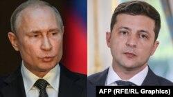 украинскиот претседател Володимир Зеленски и неговиот руски колега Владимир Путин