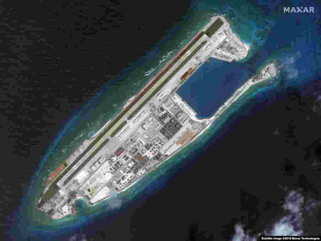 AT SEA -- Satellite image shows Fiery Cross Reef on March 9, 2017