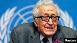Спецпосланник ООН и Лиги арабских государств Лахдар Брахими. Женева, 24 января 2014 года.
