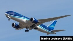 RUSSIA -- A Boeing 787 Dreamliner of the Azerbaijan Airlines (AZAL) flies in Moscow, April 8, 2015