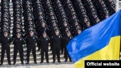 Сотрудники патрульной полиции Киева в день присяги