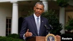 Выступление президента США Барака Обамы перед Белым домом. 21.07. 2014