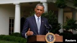 Միացյալ Նահանգների նախագահ Բարաք Օբաման ելույթ է ունենում Սպիտակ տանը, 21-ը հուլիսի, 2014թ․
