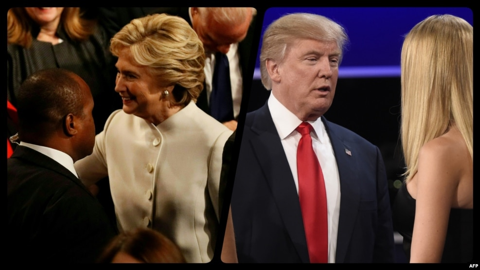 U.S. Democratic presidential candidate Hillary Clinton (left) and Republican presidential candidate Donald Trump clashed over Russia, Syria, and their personal records on October 19.