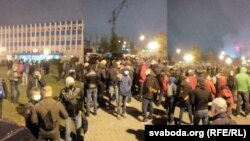 Greva de protest a început la combinatul Hrodna Azoth, Balarus, 26 octombrie 2020.