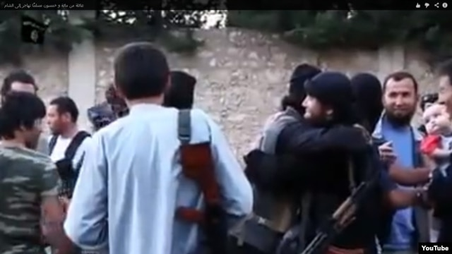 Kazakh fighters greet each other in the video.