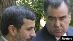 Иран президенти М. Ахмадинежад Тажикстандын президенти Э. Рахмон менен. Дүйшөмбү, 9-июнь.