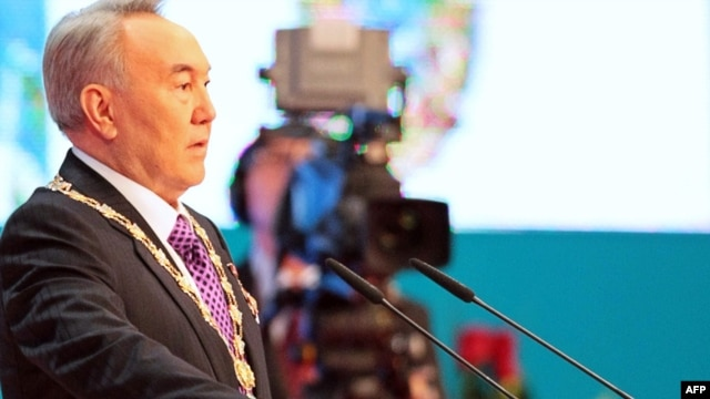 Kazakh President Nursultan Nazarbaev takes the oath of office in Astana on April 8.