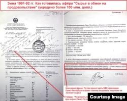 Переписка Путина с Авеном, ноябрь-декабрь 1991 г. Путин просит Авена дать ему право самому давать лицензии на экспорт. На документе – виза Егора Гайдара