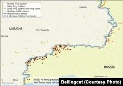 Вероятные артиллерийские позиции и зоны обстрела