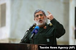 Qaani speaks in May 2017