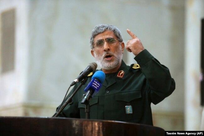 Qaani speaks in May 2017