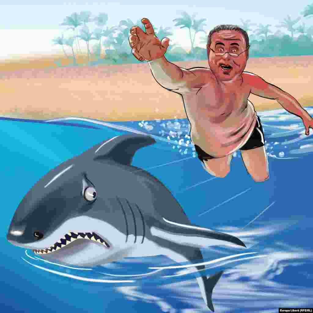 """REALITATEA RELAXATĂ (Pamflet Politigraf) Înoată, măi! Vine Usatîi! Într-o țară tropicală unde și-a petrecut vacanța politicianul moldovean Renato Usatîi au apărut proteste împotriva unei postări pe Instagram în care Usatîi fugărește un rechin în apele puțin adânci de la mal. """"Poate dl. Usatîi nu știe, dar rechinul este animalul nostru național. Cum i-ar place dacă am trimite și noi un primar în R. Moldova, să fugărească bourul?"""", a întrebat un ministru de cabinet din țara tropicală.R. Usatîi nu a răspuns întrebării, probabil întrezărind caracterul ei retoric.Dar alți politicieni de la Chișinău au declarat, sub condiția anonimatului, că primarul din țara tropicală este binevenit oricând la vânătoare, de pildă în Pădurea Domnească."""