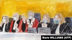 O reprezentare a judecătorului Regis de Jorna (în centru) și a celorlalți magistrați în timpul procesului