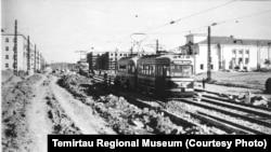 Пробный пробег первого трамвая в городе Темиртау. Сентябрь 1959 года.