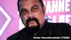 U.S. actor Steven Seagal at a meeting of the A Just Russia-Patriots For Truth bloc in Moscow on May 29.