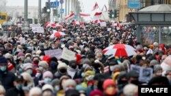 Акция протеста в Беларуси. Минск, 16 ноября 2020 года.