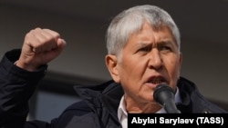 Former Kyrgyz President Almazbek Atambaev addresses a rally of his supporters in Bishkek on October 9. He was arrested the same day.