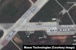 Pesawat militer Rusia di Pangkalan Udara Saki di Krimea