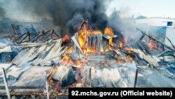 Пожар в Севастополе, сгорело складское здание, 6 сентября 2021 года