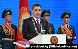 Садыр Жапаров на инаугурации. 28 января 2021 года.