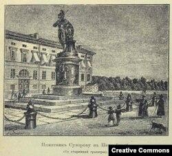 Памятник Суворову в Петербурге на старинной гравюре