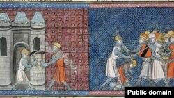 Ludovic al VII-lea la zidurile Damasculului și împăratul Conrad al III-lea al Germaniei luptând în Cruciada a doua