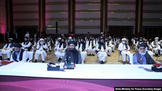 Ауғанстанда бейбітшілік орнату туралы келіссөзге қатысушылар. Доха, Қатар, 12 қыркүйек 2020 жыл.