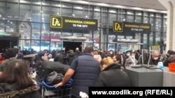 В международном аэропорту Ташкента возникли очереди на сдачу ПЦР-теста.