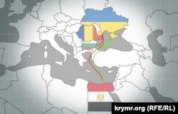 Иллюстрация маршрутов, по которым ильменитовая руда попадает в Крым