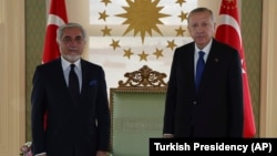 Turkish President Recep Tayyip Erdogan (right) and Abdullah Abdullah, chairman of the High Council for National Reconciliation of Afghanistan, meet for talks in Istanbul on November 20, 2020.