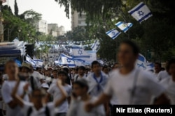Иерусалим күнін тойлауға шыққан израильдіктер. 10 мамыр 2021 жыл.