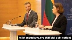 Lithuania Foreign Minister Gabrielius Landsbergis and Belarusian opposition leader Svyatlana Tsikhanouskaya in Vilnius on August 9.