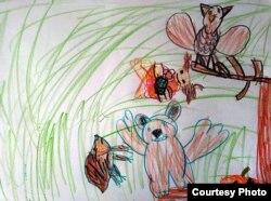 """Цртеж на петгодишниот Калин Доковски инспириран од книгата """"Грозовилата во Страшната шума"""" на Јана Бауер"""
