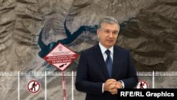 Иллюстрация к расследованию Озодлика о курорте, изображающая президента Узбекистана Шавката Мирзияева.