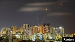 Իսրայել - Հակաօդային պաշտպանության «Երկաթե գմբեթ» համակարգը չեզոքացնում է Գազայի հատվածից արձակված հրթիռները, Աշկելոն, 20-ը մայիսի, 2021թ․