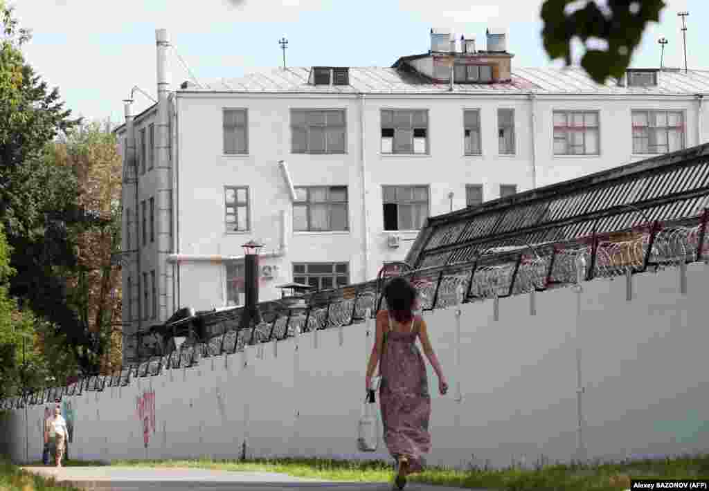 The barbed-wire walls of the Lefortovo prison in Moscow on July 8, 2010, where Sutyagin was being held.