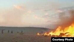 Степной пожар в Улытауском районе Карагандинской области. Июль 2021 года