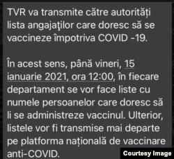 Mesaj intern primit de angajații TVR