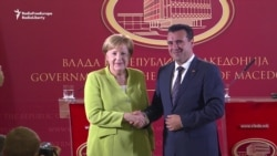 Germany's Merkel In Macedonia For Talks Ahead Of Referendum