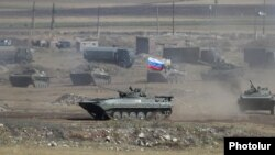 Armenia -- Russian tanks and armored vehicles participate in Russian-Armenian military exercises at the Alagyaz firing range, Seotember 24, 2020.
