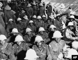 Ethiopian troops arriving in Korea. Although the overwhelming number of troops were American, UN forces included more than a dozen different national contingents.