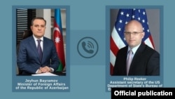 Исполняющий обязанности помощника госсекретаря США по делам Европы и Евразии Филип Рикер (справа) и министр иностранных дел Азербайджана Джейхун Байрамов