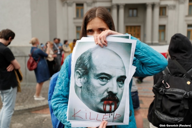 Акция с требованием освободить Романа Протасевича и Софью Сапегу в Киеве, 28 мая 2021 года