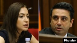 Armenian - Parliament speaker Alen Simonian, right, and opposition lawmaker Anna Mkrtchian attend a session of the National Assembly, Yerevan, August 11, 2021.