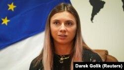 Belarusian sprinter Krystsina Tsimanouskaya talks to the press in Warsaw on August 5.